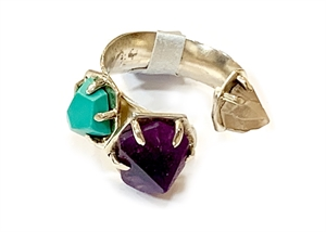Ring - Sterling Silver Amethyst, Turquoise and Rose Quartz Adjustable