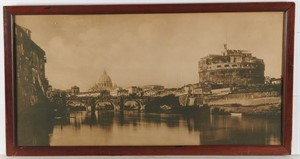 VIEW OF ROME OVER THE TIBER WITH CASTEL ST. ANGELO AND ST. PETERS , Italian, 20th century