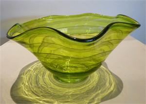 Scallop Bowl Yellow Green