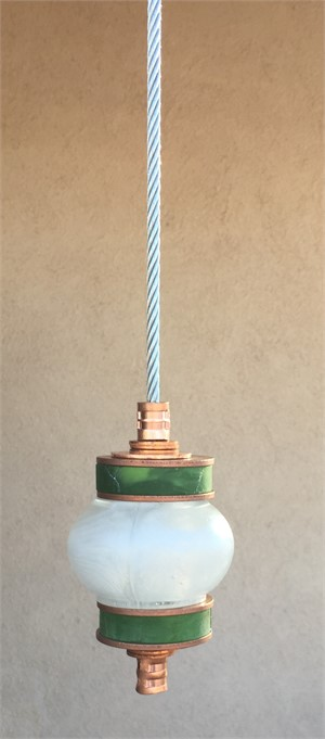 Hanging Totems - Single Ball - Frosted & Green Cast Glass