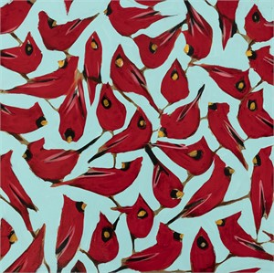 Cardinals on Blue