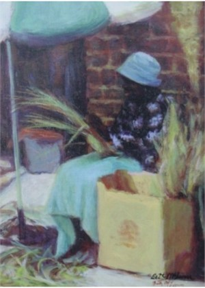 Basket Lady with Blue Hat