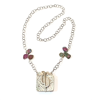 Necklace - Sterling Silver Cactus with Watermelon Tourmaline, 2019