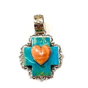 Pendant - Turquoise Square Cross with Spiny Oyster Heart