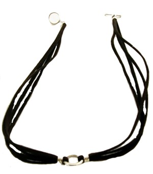 "Necklace - 16"" Brown Leather with Sterling Silver"