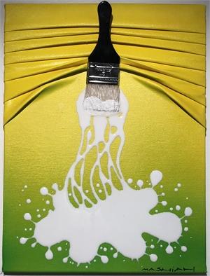 """Let's Paint"" mini, White splash on Yellow/Green, 2019"