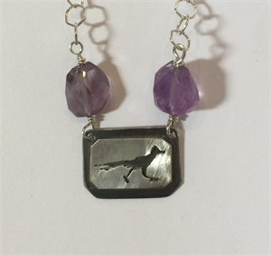 Necklace - Sterling Silver Roadrunner With Purple Amethyst, 2020
