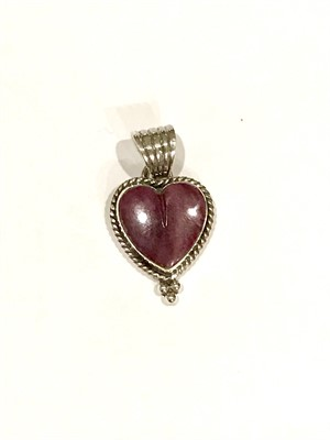 Pendant - Purple Spiny Oyster Heart with Silver Beading