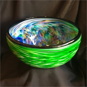 Green Swirl and Rainbow Interior Large Bowl