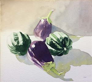 Eggplants and Squash by Barbara Waterman-Peters