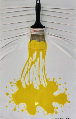 """""""Let's Paint"""" small, Yellow splash on White, 2019"""