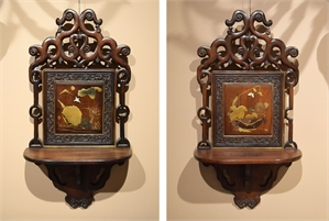 PAIR OF HANGING SHELVES WITH LACQUER PANELS, French, 19th century (circa 1890)