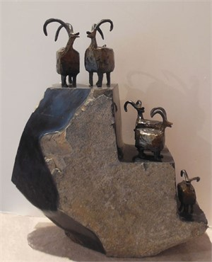 "LAUGHING SHEEP - Grouping of Five for $1500   / Individual sheep:  Sm. 3"" $250 - Med 4"" $300 - Lg 5"" $350...      Rock pedestal purchased separately."