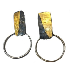 "Earrings(Post)- Stainless 1"" Hoops w/ 24kt gold Keum Boo Textured Rectangles #10 , 2019"