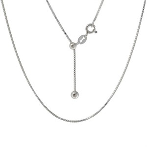 Necklace - Adjustable Sterling Silver Box Chain 20""