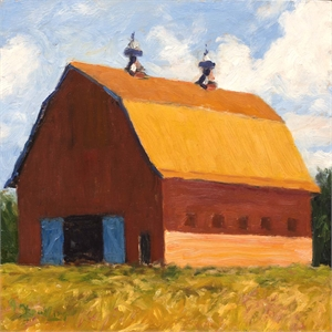 Red Barn and Blue Doors