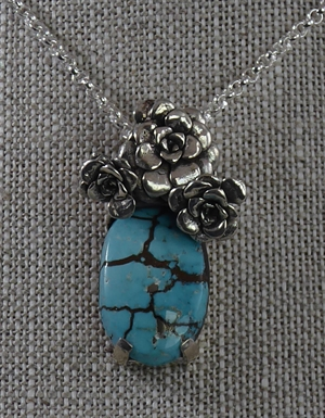 """Arizona Floral"" Pendant ~ One of a Kind Turquoise & Sterling Silver Cast Succulent"