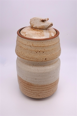 Tan Pig Lidded Covered Jar