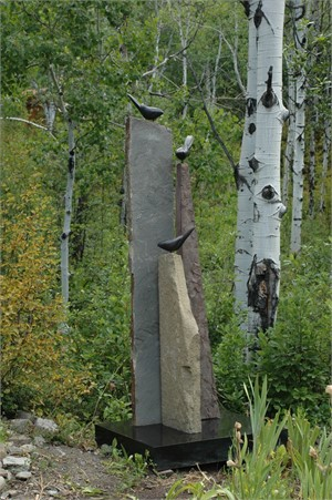 Three Birds Resting - Using Sandstone with Bronze and Steel Base