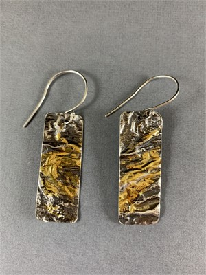 Earrings - Reticulated silver earrings Accented with Gold. Sterling ear wires. AS033, 2019