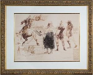 Homage a Leonardo d'Vinci (Leonardo drawing, 3 Figures, Horse from De La Bataille Vol. I), 1978