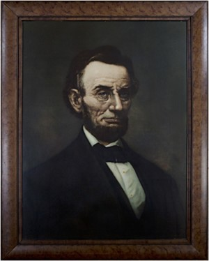 Large Portrait of Abraham Lincoln A hybrid form of portraiture-part photomechanical and part handwork, c.1900
