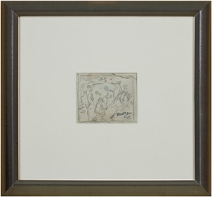 Pencil Sketch-Lake Michigan Bathers Reverse-Photo of a painting of 5 Bathers Wading in Lake Michigan, w/estate signature stamp, 1916