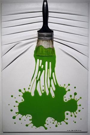 """Let's Paint"" small, Green splash on White, 2019"