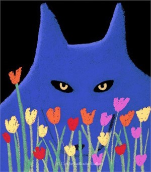 "SINGLE BLUE WOLF WITH FLOWERS - limited edition giclee on paper w/frame size of 23""x20"""