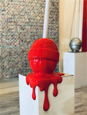 """The Sweet Life"" Medium Red corner drip lollipop, 2019"