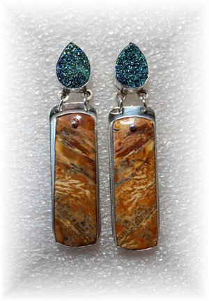 Cherry Creek Jasper w/ Druzy on Sterling Silver- Earrings, 2018