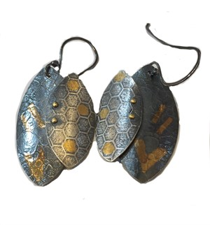 Earrings - Stainless - Double Leaf w/ 24kt Gold on Ear Wire #11, 2019