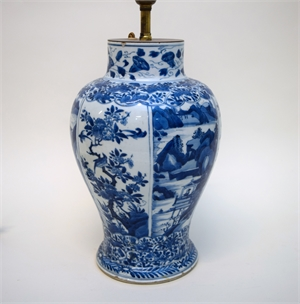 BLUE AND WHITE JAR MOUNTED AS A LAMP, Chinese, Qing Dynasty, 18th/19th century