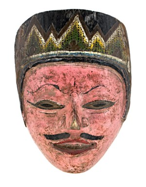 Mask, pink face, pt. mustache, slanted eyes, 19th Century