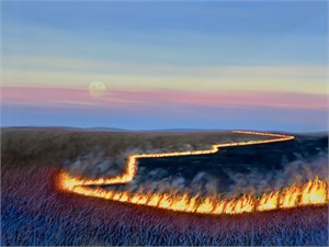 Late Burn - Teeter Rock, KS Flint Hills by Louis Copt