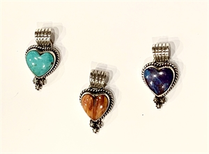 Pendant - Turquoise or Spiny Oyster Heart With Sterling Silver Rope Surround & Beads
