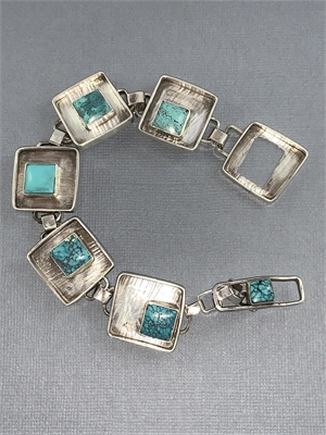 Bracelet - Square on Square Sterling Silver Kingman Turquoise With Toggle Clasp  AS 053, 2019