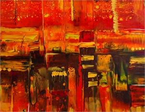 Friday Night - Fluid Acrylic/Resin on Canvas, 2020