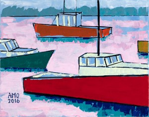 Lobster boats in bubblegum sea