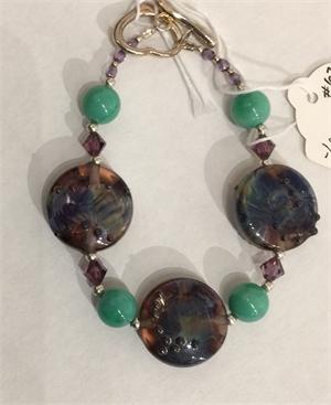 Bracelet - Lampwork Beads, Pearls & Sterling Silver  #673, 2020