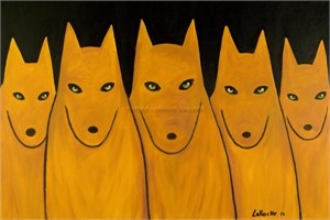 "GOLDEN WOLF PACK - limited edition giclee on canvas: (large) 40""x60"" $3500 or (medium) 30""x42"" $2200"