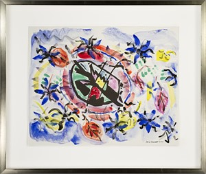 """Famous Artist Series: Homage to Wassily Kandinsky after 1911 """"Ridermotive in Oval Form"""" woodcut from Klänge (Sound) Series., 2017"""