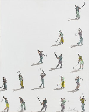 Golfers on White with Shadows, 2018