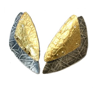 Earrings - Textured Double Triangle w/ 24kt Keum Boo on SS Posts #13, 2019