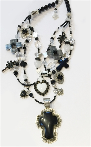 KY - 3 Strand Onyx,  Rock Crystal, Pearl Hearts & Crosses, 2019
