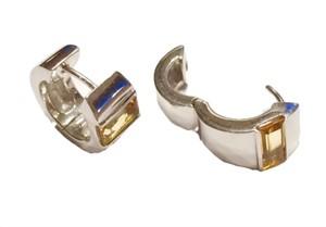 Earrings-Wide Huggies Hoops with Citrine