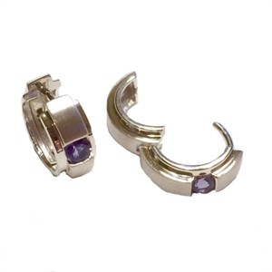 Earrings-Huggies Hoops Brushed and Polished Silver with Iolite