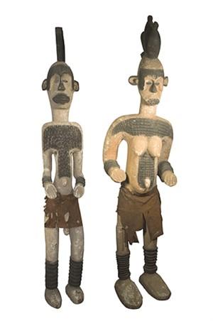 Pair of Ibo Ancestral Figures-Nigeria (Male & Female), c.1920