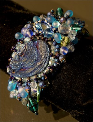 Metallic Blue with Swarovski Crystals bracelet