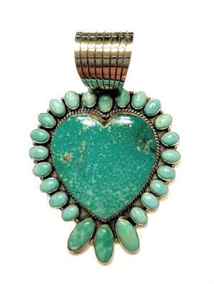Pendant - Turquoise Heart with Turquoise Surround